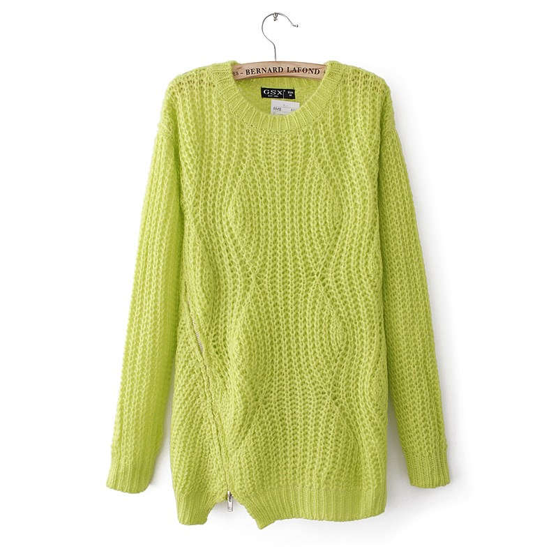 Fashion Girl Loose Sty Side Zip Detail Candy Yellow Green Top Sweater Knitwear | eBay