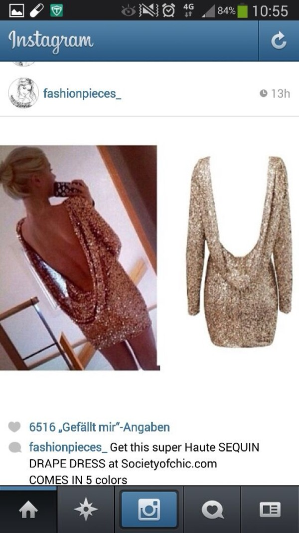 dress gold glitter dress backless