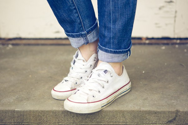 Shoes Converse White Red Tumblr Cute Rollup Jeans