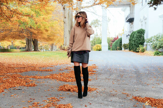 prosecco and plaid blogger bag sunglasses leather skirt camel thigh high boots