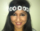 white daisy headband flowercrown by EDMdancewear on Etsy