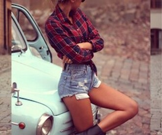 shorts flannel high waisted shorts blouse