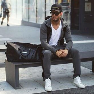 jacket maniere de voir tracksuit track pant joggers neoprene velour velvet grey black 36683 urban menswear menswear