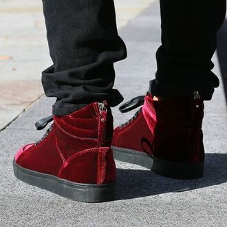 shoes maniere de voir sneakers velvet red red trainers red sneakers