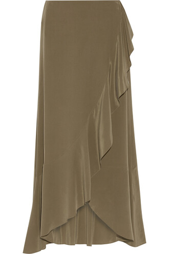 skirt wrap skirt silk green army green