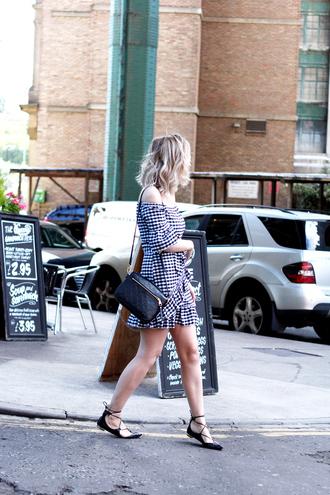 dress tumblr gingham gingham dresses mini dress off the shoulder off the shoulder dress bag shoes flats black flats