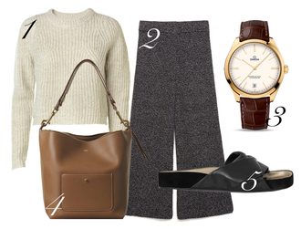 by funda blogger sweater culottes leather bag pants jewels bag