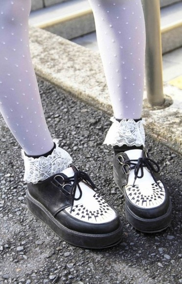 black and white shoes kawaii