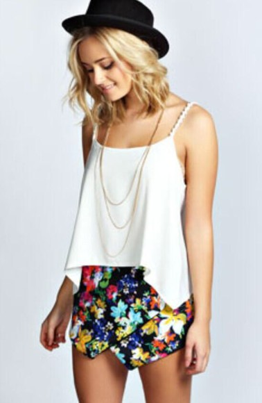 floral bright skort floral shorts black summer shorts fashion