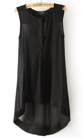 Black Sleeveless High Low Chiffon A Line Dress