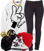 jacket,disney,jays,beanie,shoes,shirt,white sweater,high top sneakers,outfit,mickey mouse hands,black pants