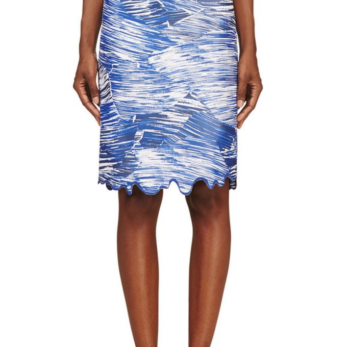 skirt blue waves pencils pencil skirt blue