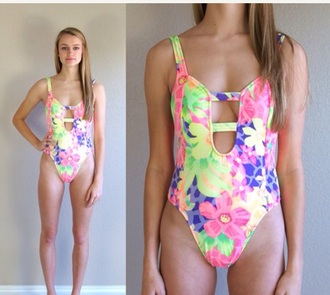 swimwear swimsuit neon swimsuit neon floral swimwear floral cut-out swimsuit vintage swimwear vintage style beach pink yellow one peice swimwear clothes blogger flower print swimwear printed summer outfits low back swimsuit low back cut-out swimsuit cut-out swimsuit cut out swimwear
