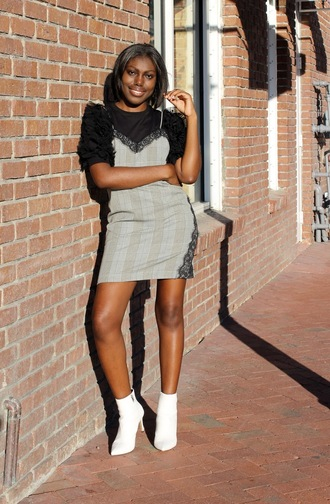 celeajade blogger top tank top dress shoes black top ruffled top dress over t-shirt ankle boots white boots