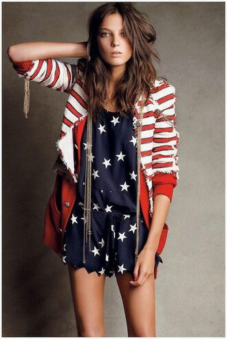 red coat coat clothes american flag red and white white coat