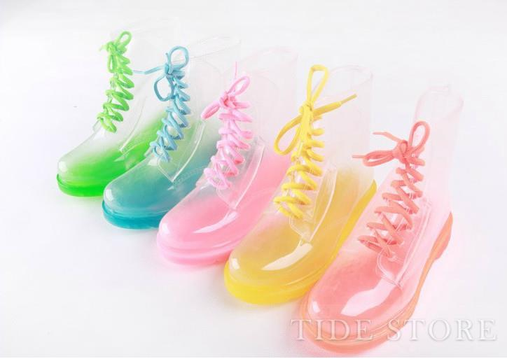 Special Design Candy Color Transparent Fashion Boots : tidestore.com