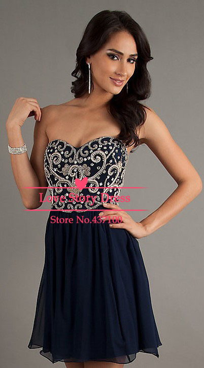 Aliexpress.com : buy robe de soiree dress party evening elegant long new formal beading sweetheart navy blue chiffon prom party dresses 2014 new from reliable dresses party kids suppliers on suzhou lovestorydress co. , ltd