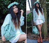 jewels,mint,blue,bacpack,skirt,rose,hair band,amazing,cute,sweater,bag