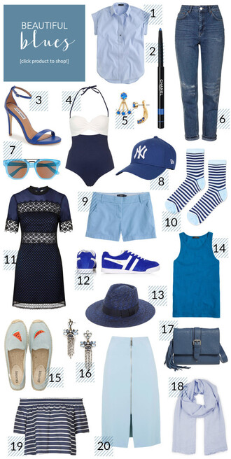 shirt shoes swimwear jacket jeans sunglasses shorts socks dress hat tank top top bag scarf blouse skirt outfit blue