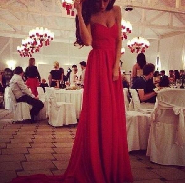 dress red dress evening dress long sexy bandeau flowy dress strapless