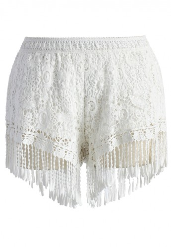 Fringed Lace Crochet Shorts in White - Retro, Indie and Unique Fashion