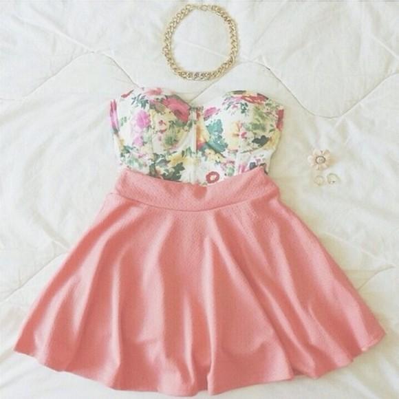 strapless girly tank top floral bustier spring skirt pink skater skirt