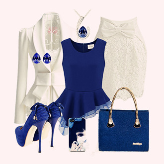 lace white skirt bows blue