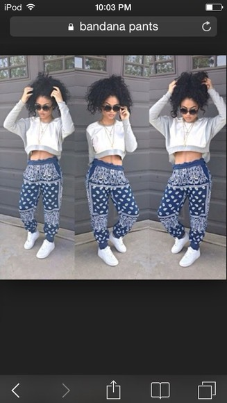 blue and white bandana jogger pants