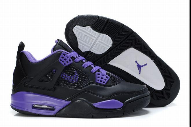 Jordan Retro 4-Black/Purple Female Styles (Jordan Brand Shoes) -  $102.89 -  Jordan Women Shoes Retro 4