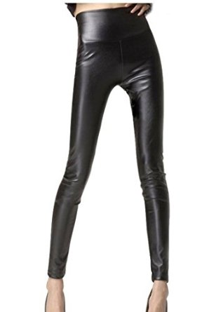 Everbellus Sexy Womens Faux Leather High Waisted Leggings at Amazon Women's Clothing store: