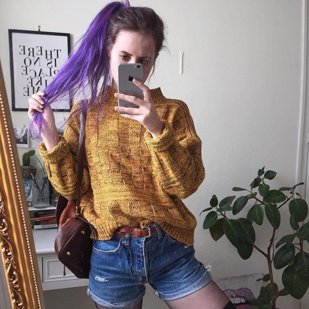 Sweater Yellow Vintage Grunge Tumblr Aesthetic Instagram Fashion Shorts Mustard Cool