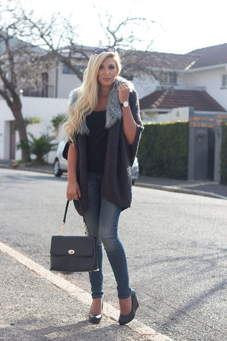 superficial girls blogger black leather bag knitted cardigan