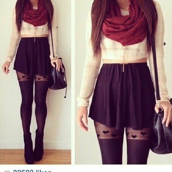 skirt high waisted top scarf infinity scarf burgendy blouse black skirt tights black tights black tights with hearts sweater cream cropped sweater cream sweater zip red scarf leggings burgundy shirt shoes underwear crop tops scarf red