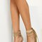 High strappy heel with side tassel - beige
