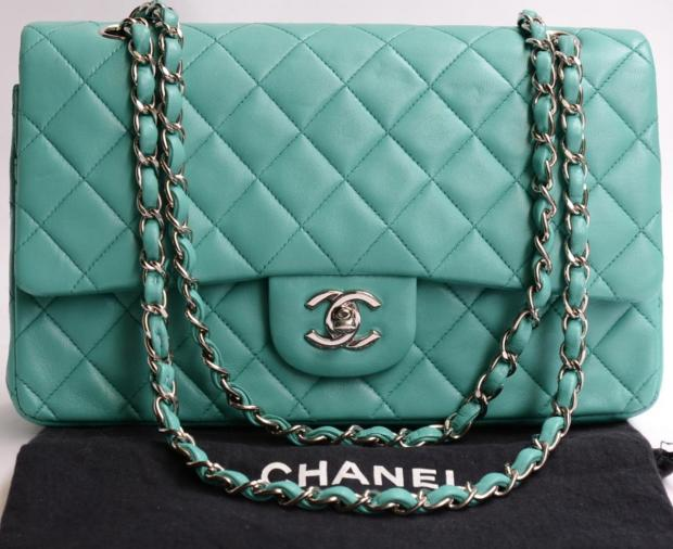 2bc2097717c6 Auth Chanel Turquoise Quilted Lamb Classic Flap 2 55 Silverhw Shoulder Bag  3364 | eBay