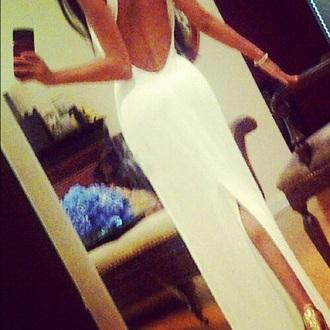 prom dress backless dress white dress slit dress