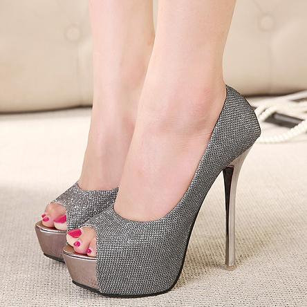 143626ed034 Aliexpress.com   Buy New summer silver wedding shoes open toe high heels  women pumps 2014 black ...