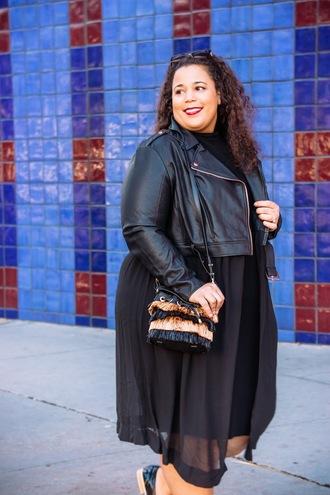 dress plus size dress black dress midi dress plus size curvy bag jacket black jacket black leather jacket leather jacket all black everything