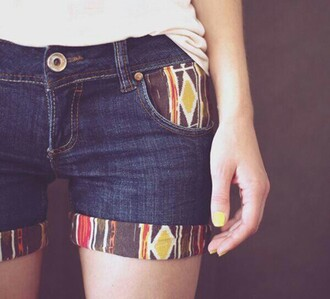 shorts tribal pattern aztec denim boho artsy hippie jeans pattern pants hot pants fabulous simple et chic boho chic summer denim shorts