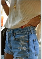 shorts,creamy top,denim shorts,distressed high waisted jeans,jeans,shirt,levi's,ripped shorts,blue