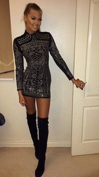 dress wots-hot-right-now sequin dress sexy dress cocktail dress long sleeves elegant dress date outfit