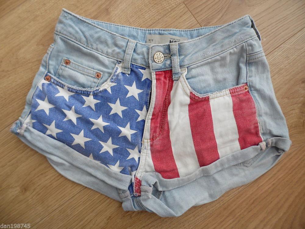 "TOPSHOP Moto Petite Lightwash Denim American Flag High Waist Shorts W24"" | eBay"