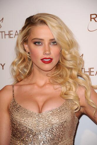 dress sequins sequin dress amber heard blonde hair party make up red lipstick