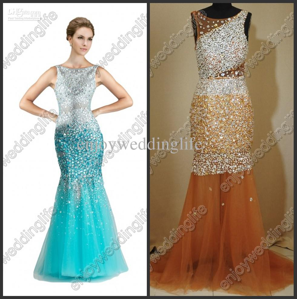 Cheap Prom Dresses - Discount Sexy Sleeveless Mermaid Tulle Crystals Prom Dresses Sheer Online with $155.05/Piece | DHgate
