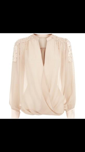 pearl blouse plunge v neck chiffon