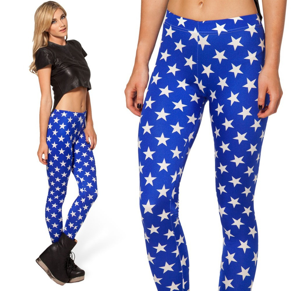 New 2014 Women Leggings Black Milk White Stars Blue Printed Leggings Footless Leggings Punk Fitness Clothing For Women-in Leggings from Apparel & Accessories on Aliexpress.com