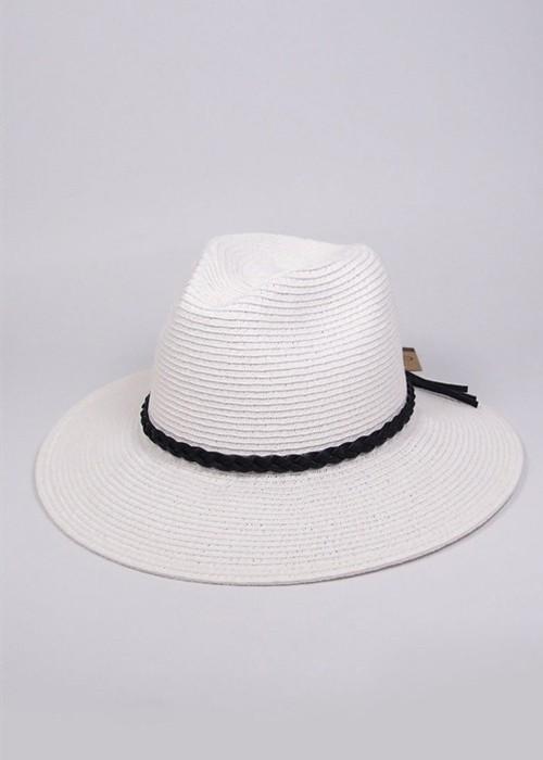 White Wide Brim Panama Hat