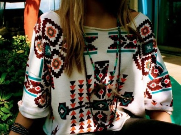 blouse aztec print printed casual simple oversized top aztec shirt t-shirt white t-shirt black t-shirt red t-shirt blue t-shirt orange t-shirt brown t-shirt bag