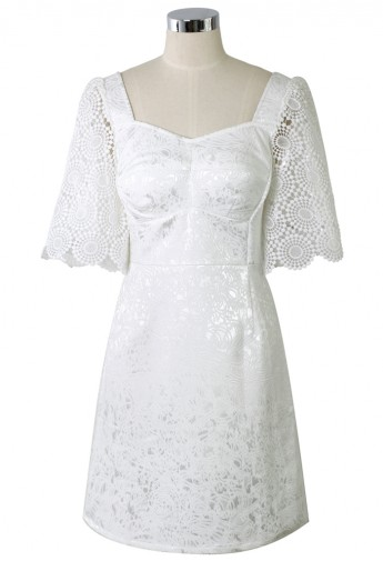 Floral Embossed White Dress with Crochet Sleeves - Retro, Indie and Unique Fashion