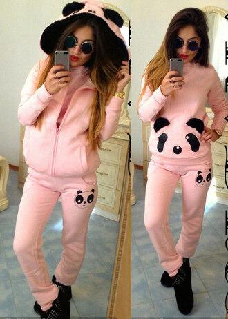 pajamas panda cozy pink cute tracksuit joggers joggers pants trendy fall outfits winter outfits fall style winter style adidas tracksuit clothes top pants animal warm dope sweatshirt home style pants sleeveless hooded sweatshirt hoodie